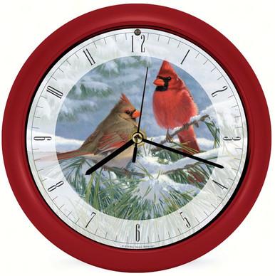 Winter Light Cardinal 8 Clock by Artist Marc Hanson