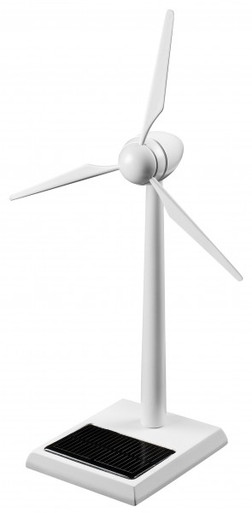 Solar Wind Turbine Wood 12 inch White Finish