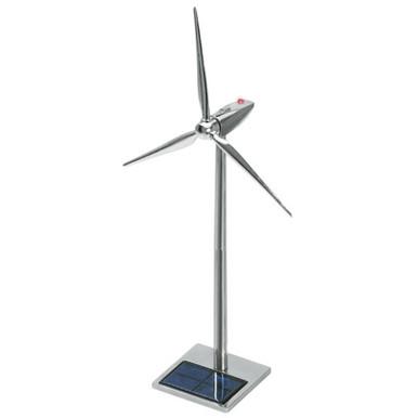 Solar Powered Metal Wind Turbine Desktop Model 19 inch with LED
