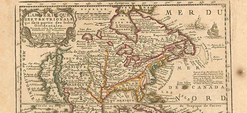Antique maps vintage maps old maps historic maps rare maps pine vintage map of new france canada gumiabroncs Choice Image