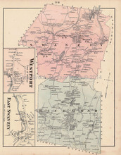 Swanzey Richmond Westport New Hampshire Antique Map Walling 1877