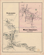 Marlboro West Swanzey New Hampshire Antique Map Walling 1877
