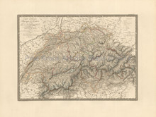 Switzerland Antique Map Brue 1827