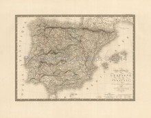 Spain Portugal Antique Map Brue 1827