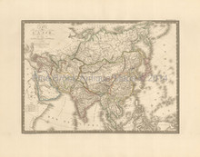 Asian Continent Antique Map Brue 1827