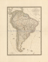 South American Continent Antique Map Brue 1827