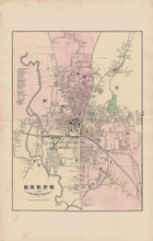 Keene Village New Hampshire Antique Map Walling 1877