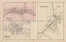 Hinsdale Walpole Winchester New Hampshire Antique Map Walling 1877