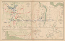 Stone's River Campaign Sabine Pass Texas Civil War Antique Map 1895