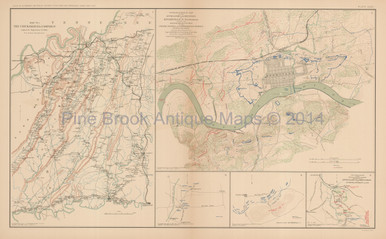Chickamauga Campaign Knoxville Civil War Antique Map 1895 Pine