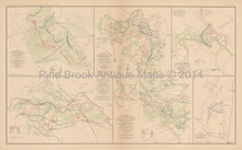 Rapidan To James River Civil War Antique Map 1895