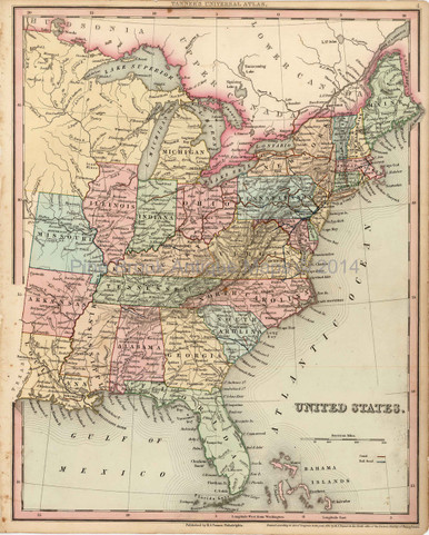 United States Antique Map USA Tanner Pine Brook Antique Maps - 1836 us map