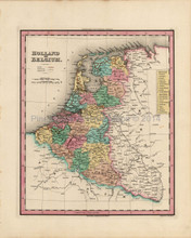 Holland Belgium Netherlands Antique Map Tanner 1836
