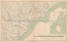 North & South Carolina Civil War Antique Map 1895