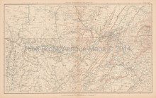North Carolina Georgia Civil War Antique Map 1895
