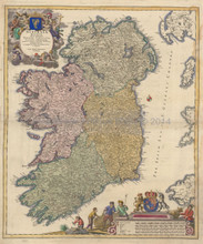 Ireland Antique Map Homann 1730