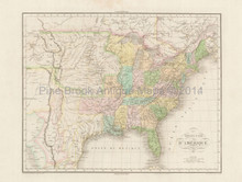 United States Antique Map Buchon 1825