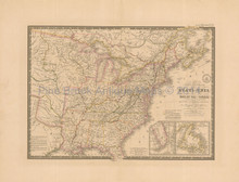 United States Antique Map Brue 1832