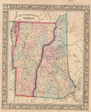 New Hampshire Vermont Antique Map Mitchell 1863