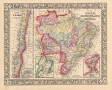 Brazil Bolivia Chile Antique Map Mitchell 1863