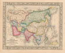 Asian Continent Antique Map Mitchell 1863