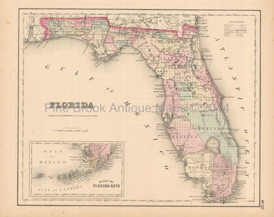 Florida Antique Map Colton 1858