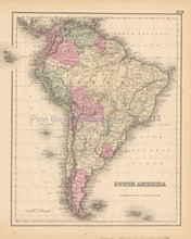 South America Antique Map Colton 1858