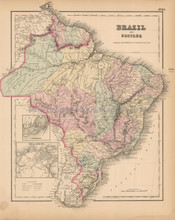 Brazil Guayana Antique Map Colton 1858