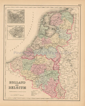 Holland Belgium Antique Map Colton 1858