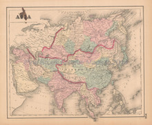 Asia Antique Map Colton 1858