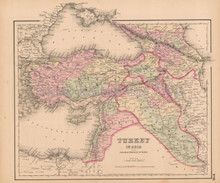 Turkey Asia Antique Map Colton 1858
