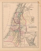 Palestine Arabia Antique Map Colton 1858