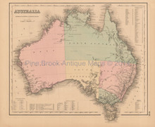 Australia Antique Map Colton 1858