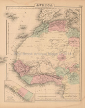 Northwest Africa Antique Map Colton 1858