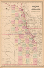 Kansas Nebraska Antique Map Colton 1858