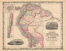 Venezuela Colombia Antique Map Johnson 1861