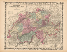 Switzerland Antique Map Johnson 1861
