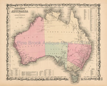 Australia Antique Map Johnson 1861
