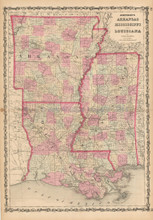Mississippi Louisiana Antique Map Johnson 1861