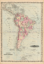 South America Antique Map Johnson 1861