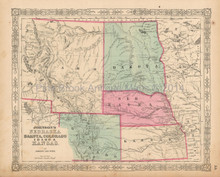 Nebraska Colorado Antique Map Johnson 1863