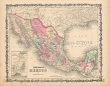 Mexico Antique Map Johnson 1863  -2