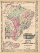Brazil Argentina Antique Map Johnson 1863