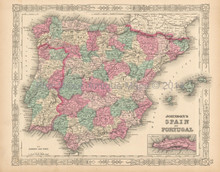 Portugal Spain  Iberia Antique Map Johnson 1863