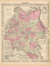 Russia In Europe Antique Map Johnson 1863  -2