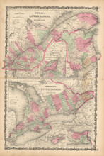 Lower And Upper Canada Antique Map Johnson 1863