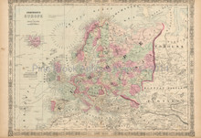 European Continent Antique Map Johnson 1863