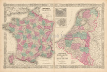 Netherlands France Antique Map Johnson 1863