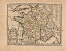 Royal France Antique Map Chiquet 1719