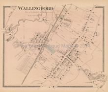 Wallingford Connecticut Antique Map Beers 1868
